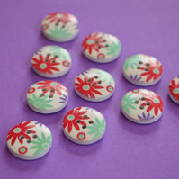15mm Wooden Floral Buttons Aqua Red Purple 10pk Flowers (SF19)