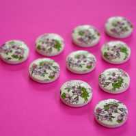 15mm Wooden Floral Buttons Pink Green 10pk Flowers (SF20)