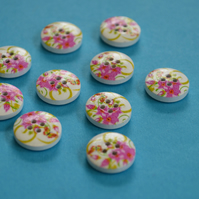 15mm Wooden Floral Buttons Hot Pink Green 10pk Flowers (SF21)