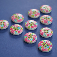 15mm Wooden Floral Buttons Hot Pink Green Blue 10pk Flowers (SF22)