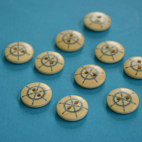 15mm Wooden Ship Wheel Buttons 10pk Nautical Boat Sea Sailing (SNT8)