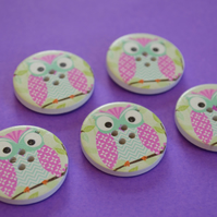 30mm Wooden Owl Buttons Pink Turquoise Green 5pk Bird (LOW3)