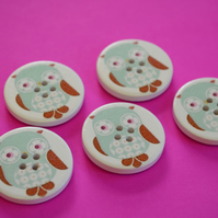 30mm Wooden Owl Buttons Aqua Brown 5pk Bird (LOW4)