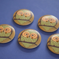 30mm Wooden Owl Buttons Natural Brown Mint 5pk Bird (LOW6)