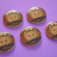 30mm Wooden Owl Buttons Natural Brown Mint Green Red 5pk Bird (LOW7)