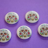 20mm Wooden Skull Buttons 5pk Day of the Dead Goth Button (SK2)