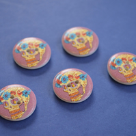 20mm Wooden Skull Buttons 5pk Purple Day of the Dead Goth Button (SK3)