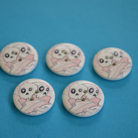 20mm Wooden Skull Buttons 5pk Pink White Goth Button (SK4)