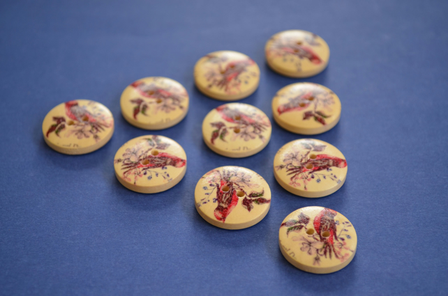 Wooden Red Bird Buttons Vintage Style 10pk 20mm (MB12)