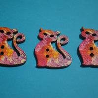 Wooden Cat Buttons Red Purple Yellow 3pk 30x25mm Kitty Pussy Kitten (CT6)