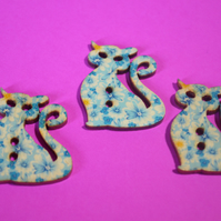 Wooden Cat Buttons Blue Yellow 3pk 30x25mm Kitty Pussy Kitten (CT12)