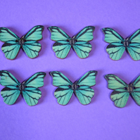 Wooden Butterfly Buttons Blue Turquoise Black 6pk 28x20mm (B21)