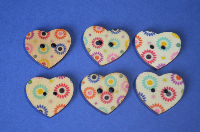 Wooden Heart Buttons Floral Purple Turquoise Red Flower 6pk 25x22mm (H27)