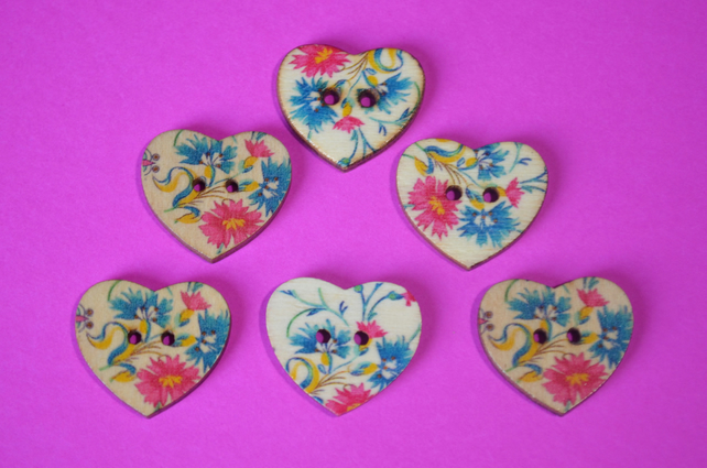 Wooden Heart Buttons Floral Pink Turquoise Yellow 6pk 25x22mm (H24)