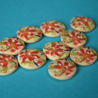 15mm Wooden Red Orange & Green Floral Buttons Natural Wood 10pk Flowers (SNF11)