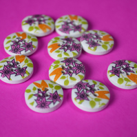 15mm Wooden Floral Buttons Hot Pink Green Yellow 10pk Flowers (SF24)