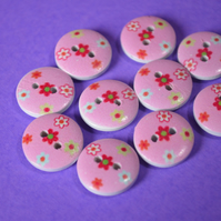 15mm Wooden Floral Buttons Cute Pink Red Yellow 10pk Flowers (SF27)