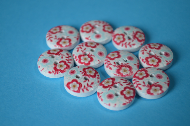 15mm Wooden Floral Buttons Red & Aqua 10pk Flowers (SF28)
