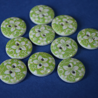 15mm Wooden Floral Buttons Hawaiian Green & White Flower 10pk Flowers (SF31)