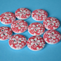 15mm Wooden Floral Buttons Hawaiian Red & White Flower 10pk Flowers (SF37)