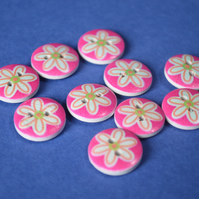 15mm Wooden Floral Buttons Cute Hot Pink & Aqua Flower 10pk Flowers (SF40)