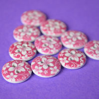 15mm Wooden Floral Buttons Hawaiian Raspberry Pink & White 10pk Flowers (SF41)