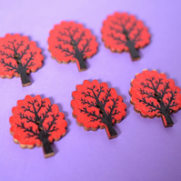 Wooden Tree Buttons Red 6pk 32x24mm Woodland (T3)