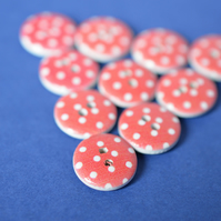 15mm Wooden Spotty Buttons Red White 10pk Spot Dot (SSP21)