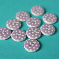 15mm Wooden Spotty Buttons Purple White 10pk Spot Dot (SSP22)