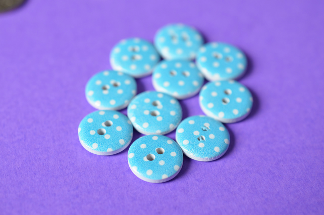 15mm Wooden Spotty Buttons Bright Blue White 10pk Spot Dot (SSP24)