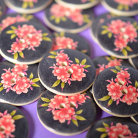 30mm Wooden Pink Floral Buttons Black Background 6pk Large Flower Button (RLG1)