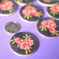 30mm Wooden Pink Floral Buttons Black Background Large Flower Button (RLG2)