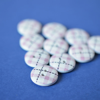 15mm Wooden Tartan Plaid Buttons Pink, White & Black 10pk Checked Check (SCK8)