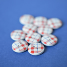 15mm Wooden Tartan Plaid Buttons Red, White & Blue 10pk Checked Check (SCK11)