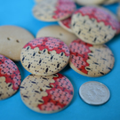 30mm Wooden Red, Pink & Natural Wood Printed Buttons Large Button (RLG7)