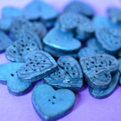 Coconut Shell Petrol Blue Dyed Heart Leaf Buttons 22mmx22mm Button (CC7)