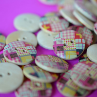 Wooden Multicoloured Retro Check Patchwork Buttons 20mm (MN2)