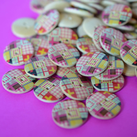Wooden Multicoloured Retro Check Patchwork Buttons 10pk 20mm (MN1)