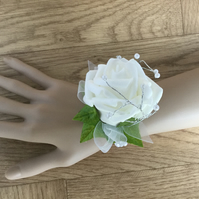 White Rose Wrist Corsage with Gift Box