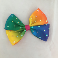 Beautiful Rainbow Hair Bow Clip