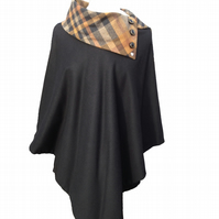Handmade Black Pure New Wool Betty Poncho