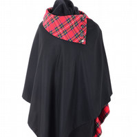 Pure New Wool BettyPoncho   Black, Royal Stewart lining with RS collar