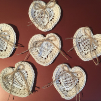 6 Crocheted Lace Hearts with a twine bow