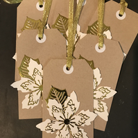 6 x Christmas tags in gold and cream