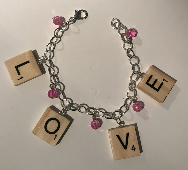 Wooden tile letter bracelet (love)