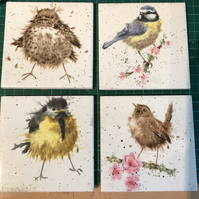 Set of 4 ceramic coasters Wrendale design (garden birds)