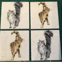 Set of 4 Ceramic Coasters Wrendale design (Cats)