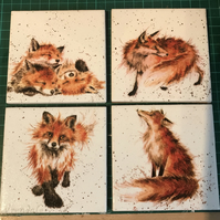 Set of 4 Ceramic Coasters Wrendale design (foxes)