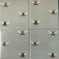 Set of 4 ceramic coasters Sophie Allport Bees