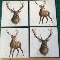 Set of 4 Ceramic Coasters Wrendale Design (stags)